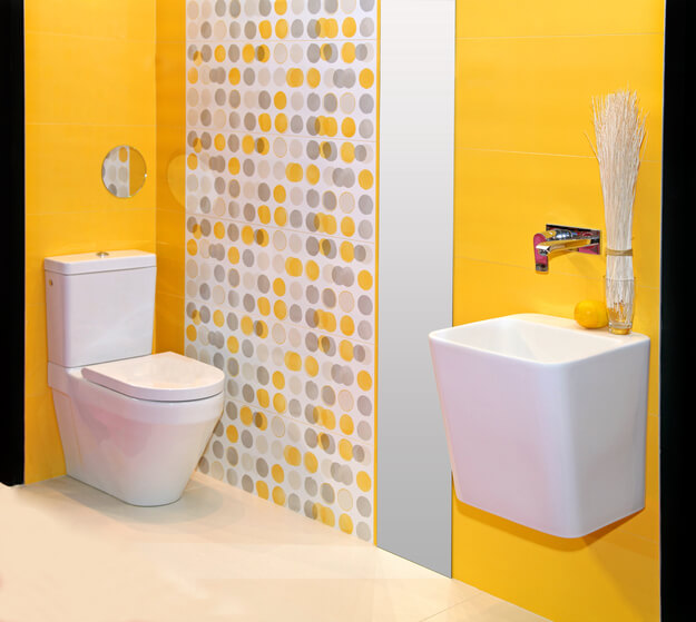 Modern minimalistic bathroom interior with yellow walls