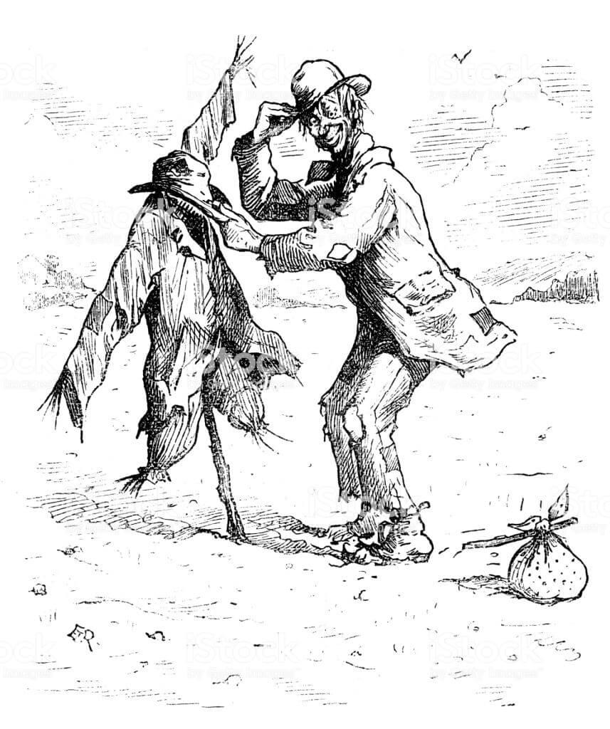 British London satire caricatures comics cartoon illustrations: Scarecrow