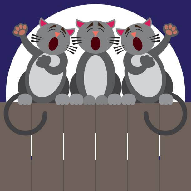 Three cats are belting out a tune in front of a full moon