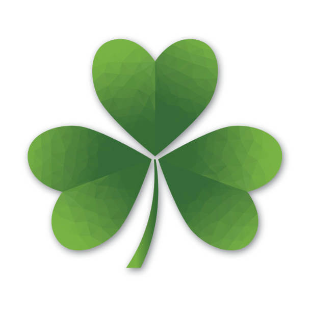 An original artwork low poly vector illustration of a traditional St Patricks green shamrock,  symbolising the Holy Trinity. Or a three-leaf clover, each leaf with a pretty heart shape, like a lot of love. This square composition on a white background can be a postcard, flyer, store window, poster.